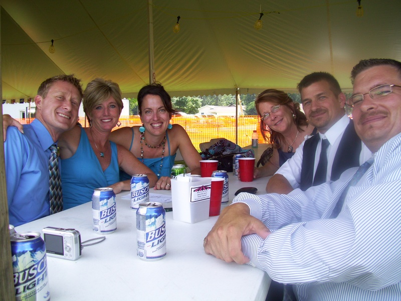 Wedding party stops by the festival