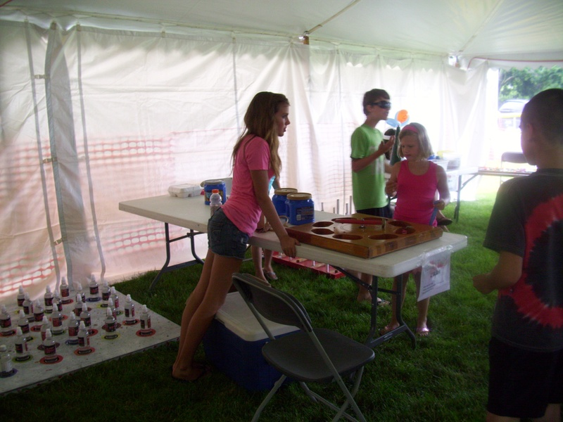 Kids games moved inside the tent