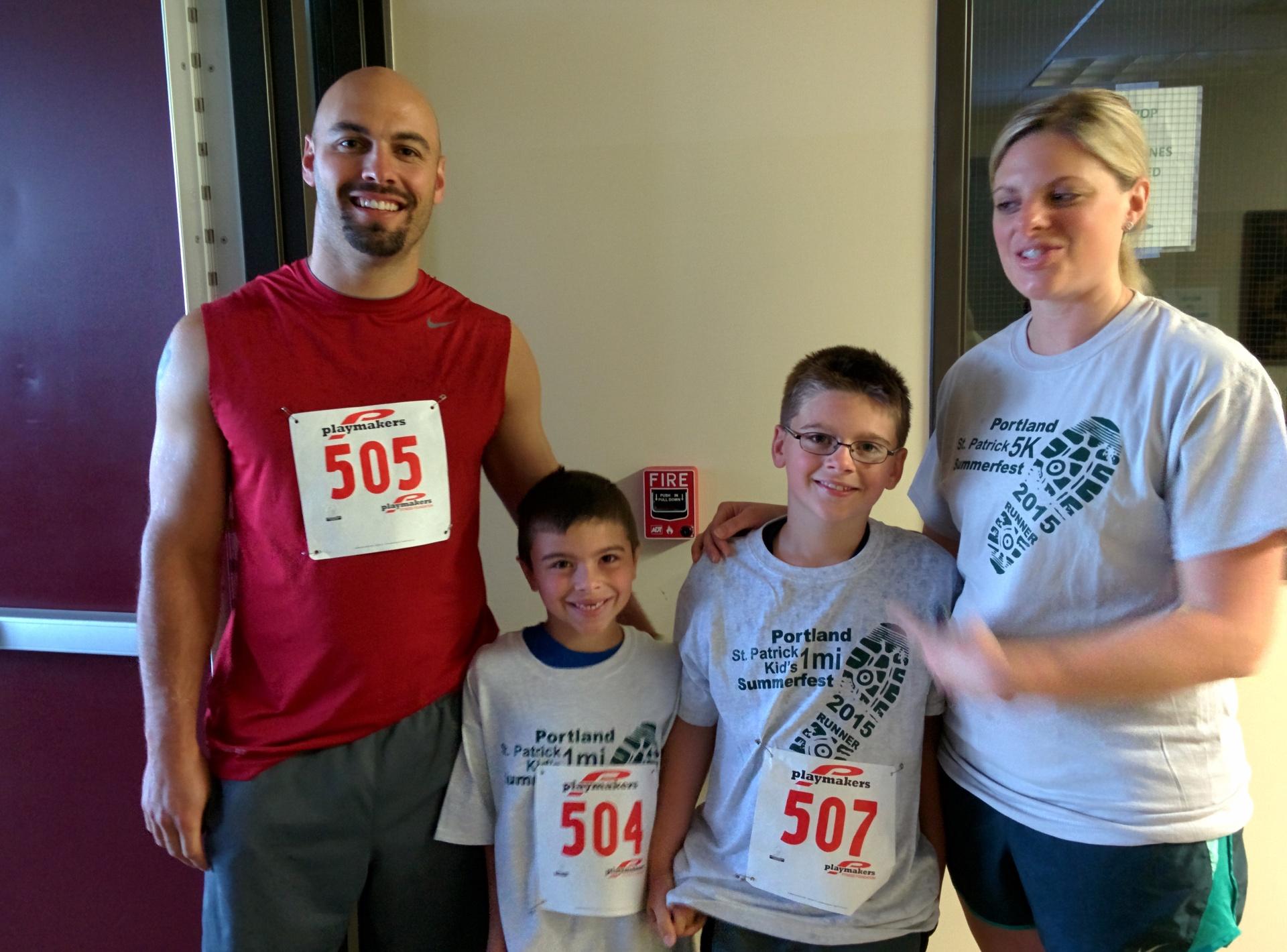 Families getting ready for the Fun Run